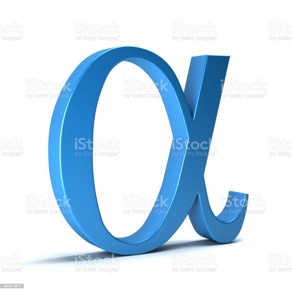 Alpha Mathematical Symbol 3d Rendering Illustration Stock Photo