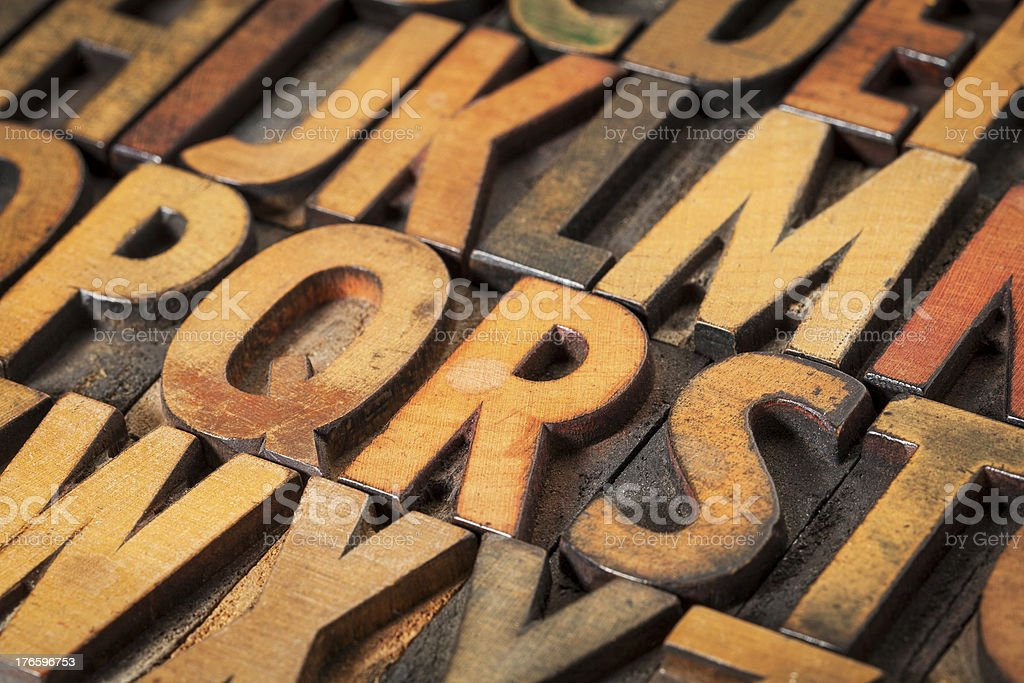 alphabet abstract in wood type stock photo
