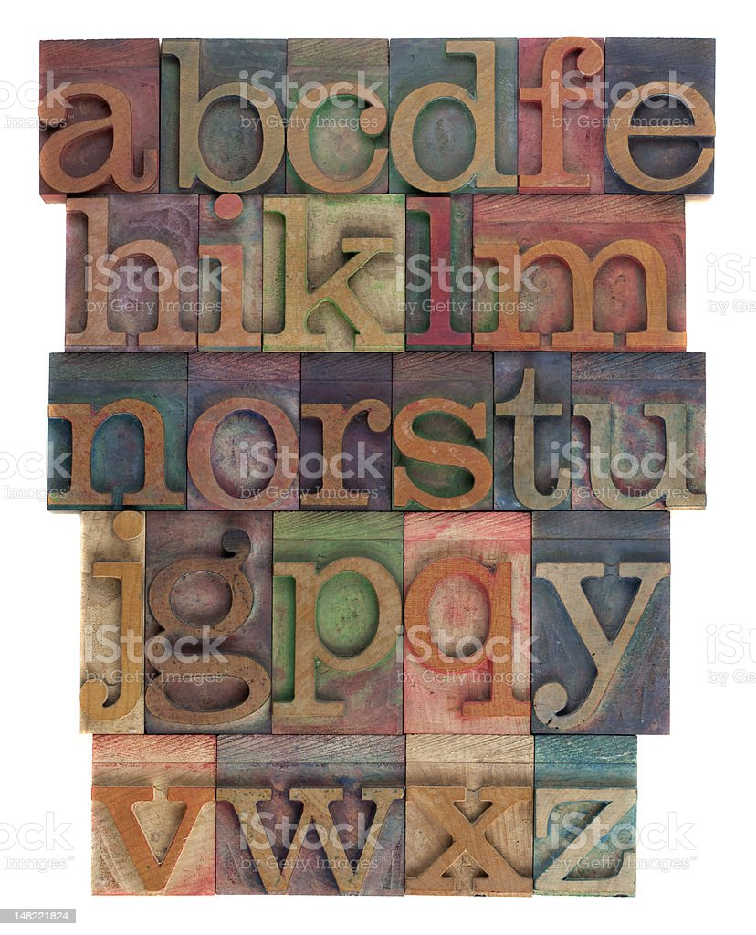 alphabet abstract - vintage wooden letterpress type stock photo