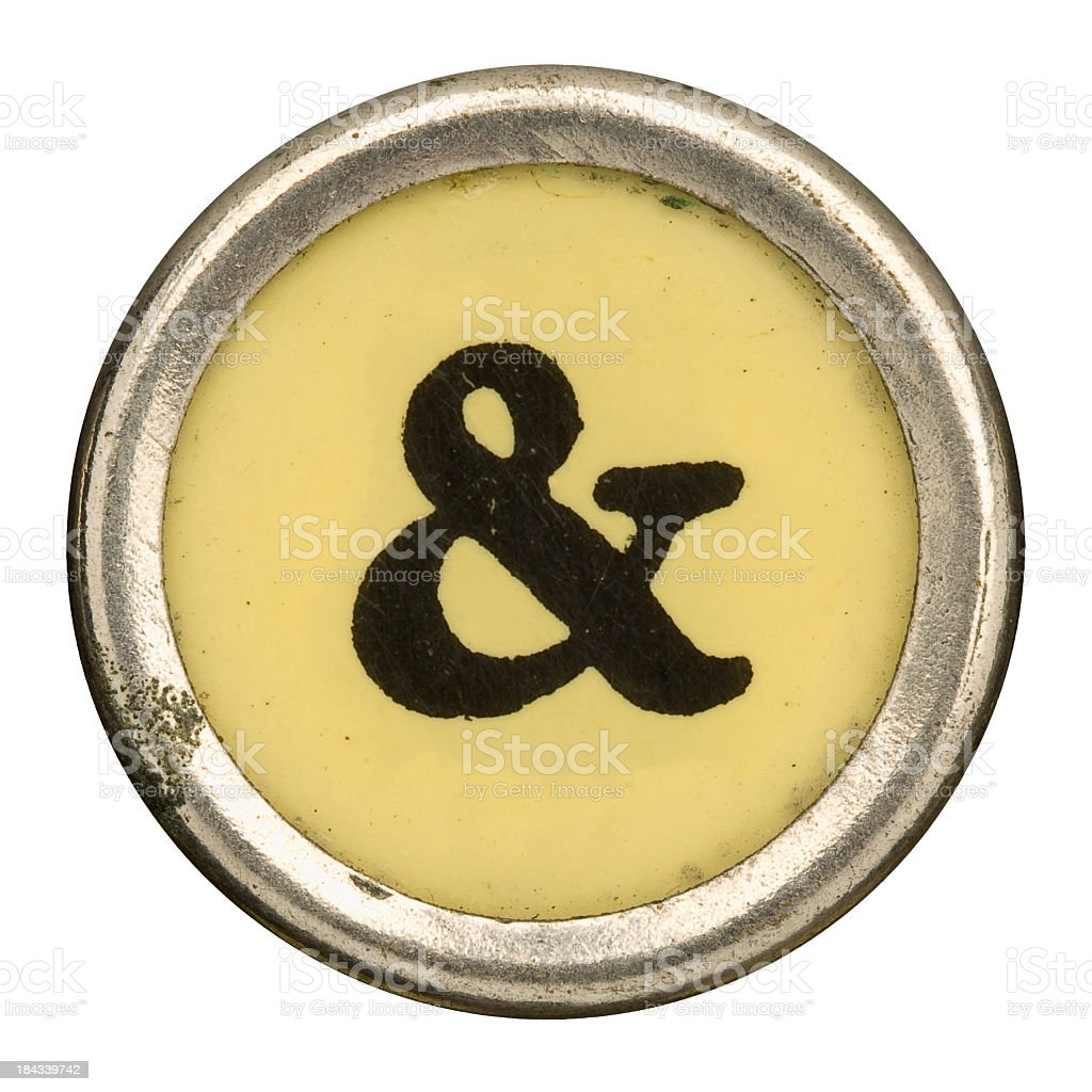 Alphabet - & Ampersand Key from old Manual Typewriter. stock photo