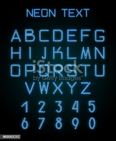 istock Alphabet and numerals created with neon light 969563252