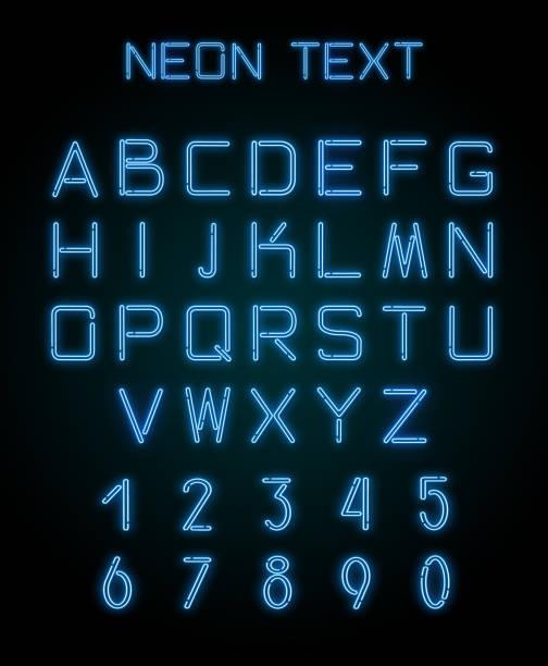 alphabet und zahlen erstellt mit neonlicht - neontasche stock-fotos und bilder