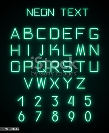istock Alphabet and numerals created with neon light 979128696