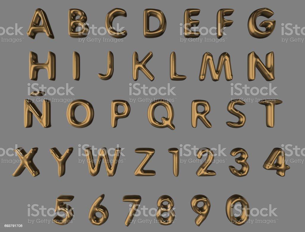 Alfabet och siffror från guld ballonger isolerade (urklippsbana ingår) på en grå bakgrund bildbanksfoto
