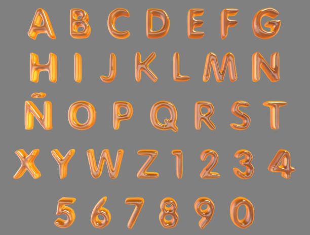 Alphabet and numerals from orange balloons isolated (clipping path included) on a grey background - foto stock