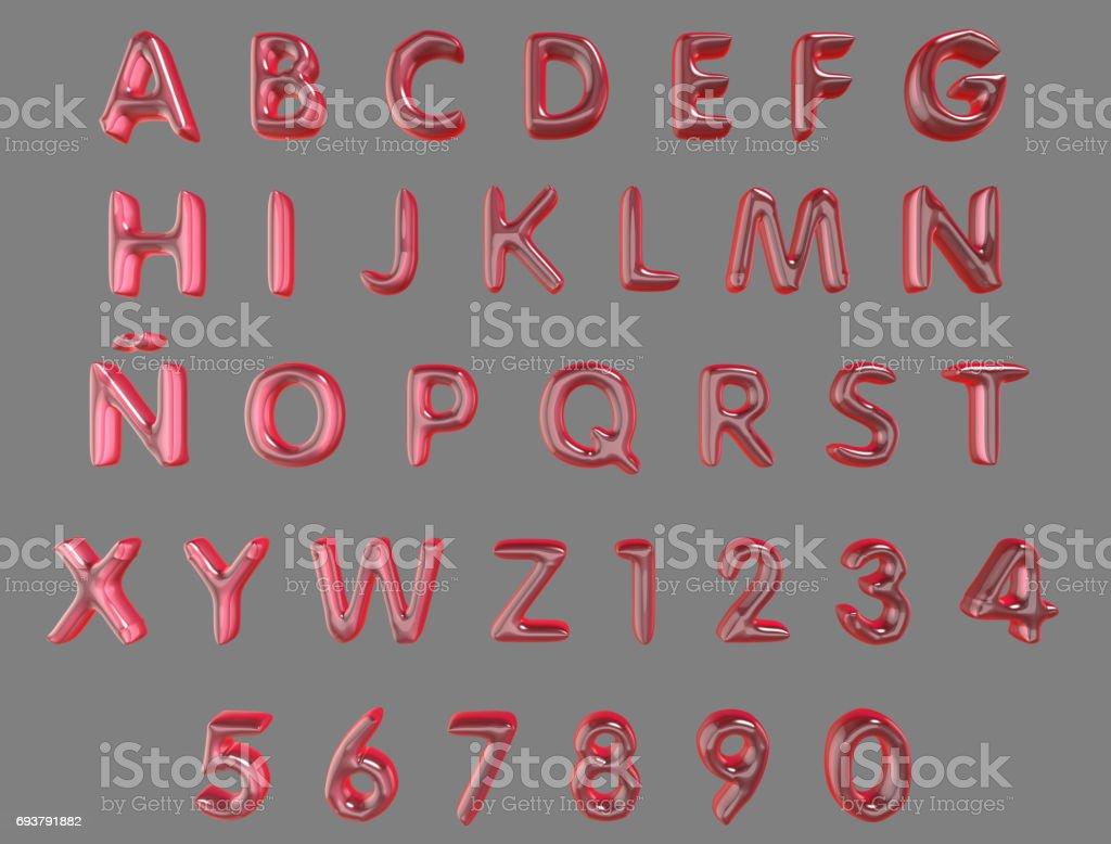 Alfabeto e numerais de rosa balões isolados (caminho de recorte incluído) sobre um fundo cinzento - foto de acervo