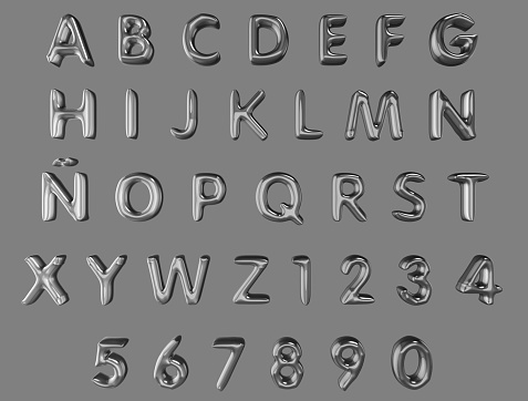 3d alphabet and numerals from silver balloons isolated (clipping path included) on a grey background