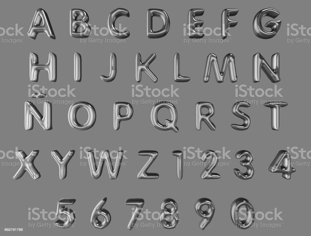 Alfabet och siffror från silver ballonger isolerade (urklippsbana ingår) på en grå bakgrund bildbanksfoto