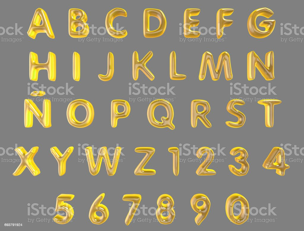 Alphabet and numerals from yellow balloons isolated (clipping path included) on a grey background stock photo