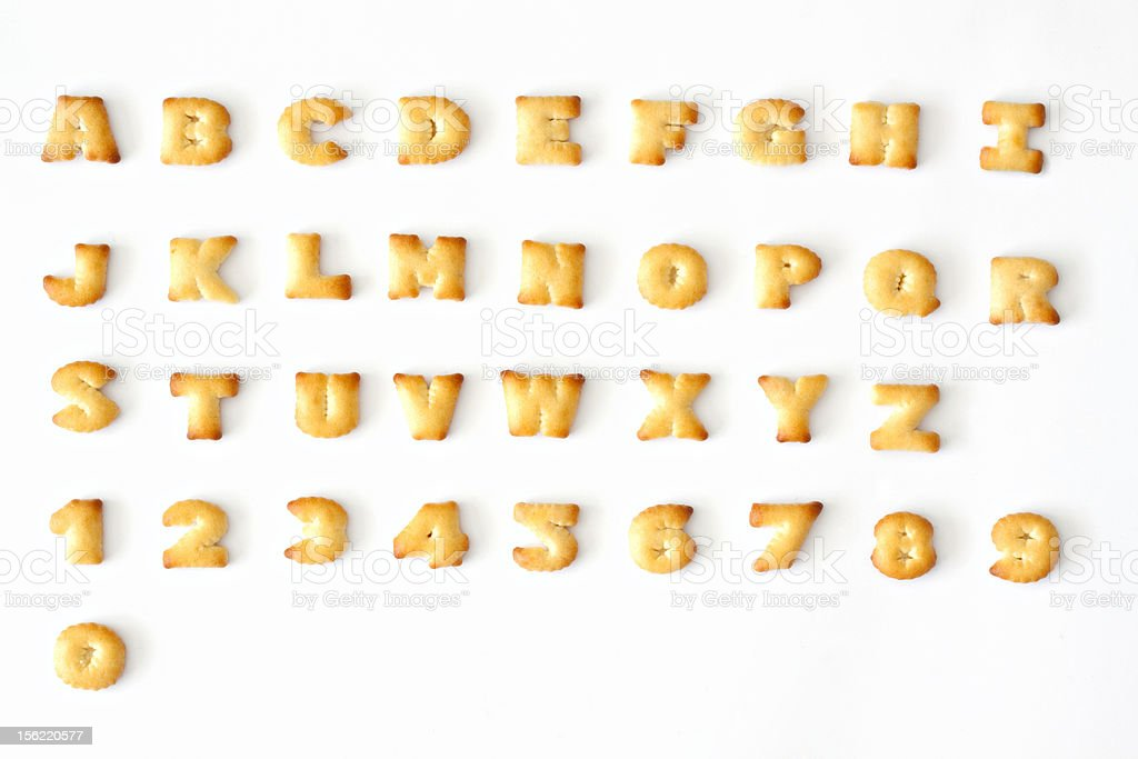 Alphabet and Numeric Bread stock photo