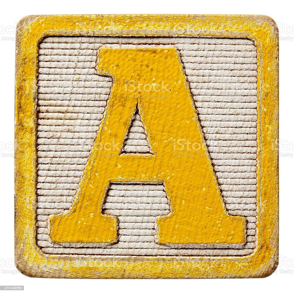 Alphabet - Antique Block Letters, Isolated on White. Letter A. stok fotoğrafı