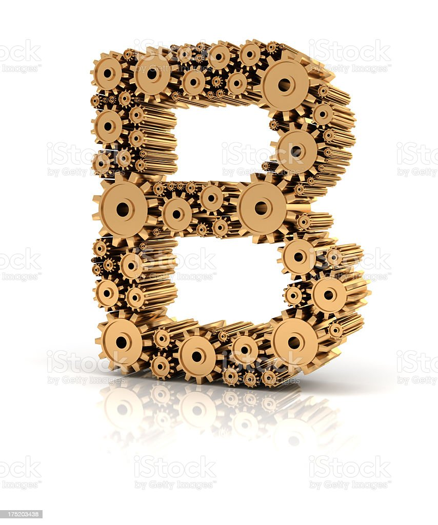 Alphabet B formed by gears royalty-free stock photo