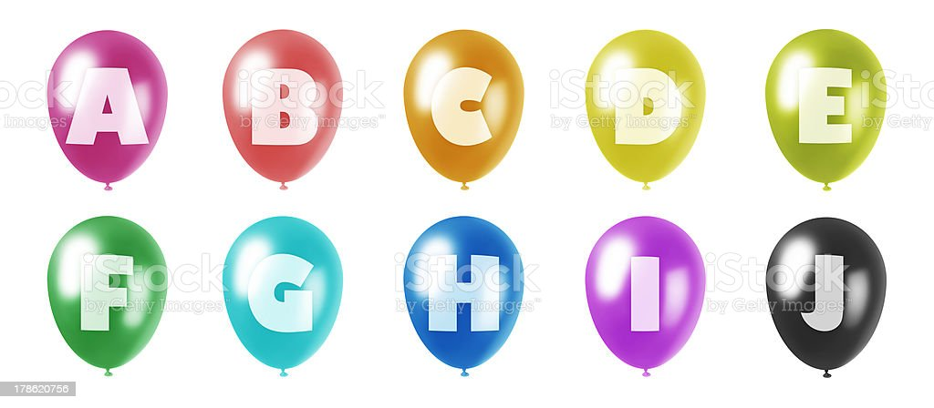 alphabet balloons set a-j royalty-free stock photo