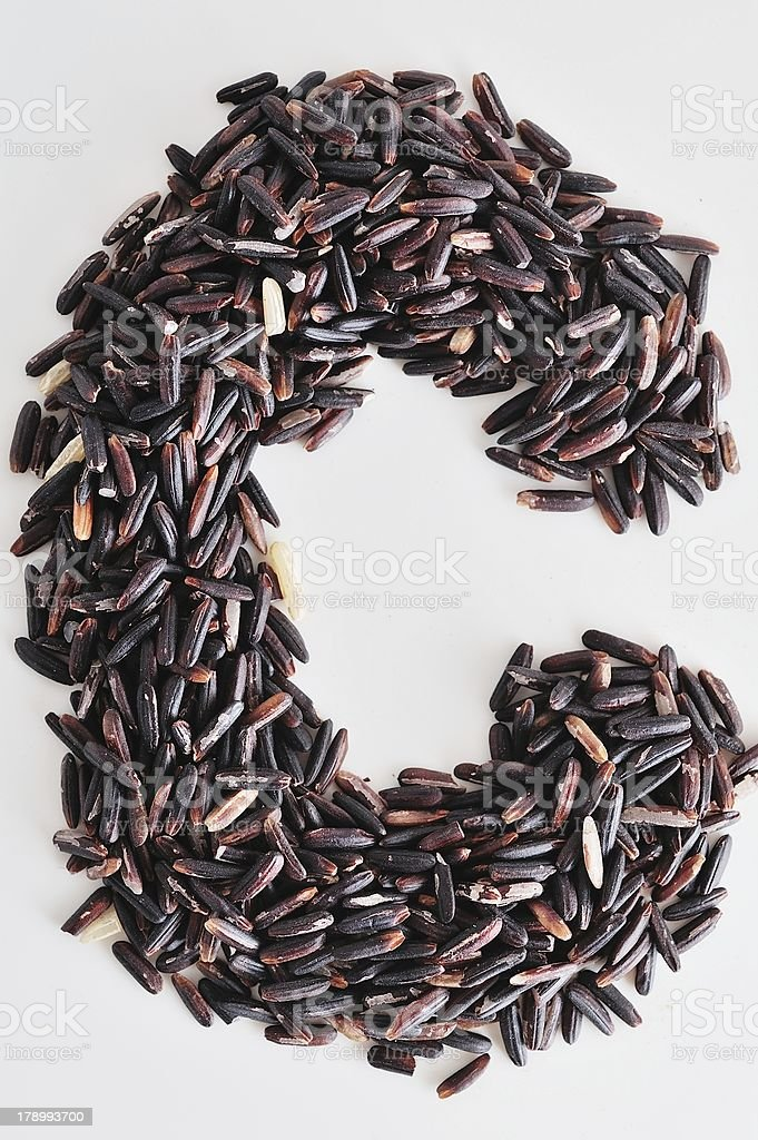 Alphabet Black rice royalty-free stock photo