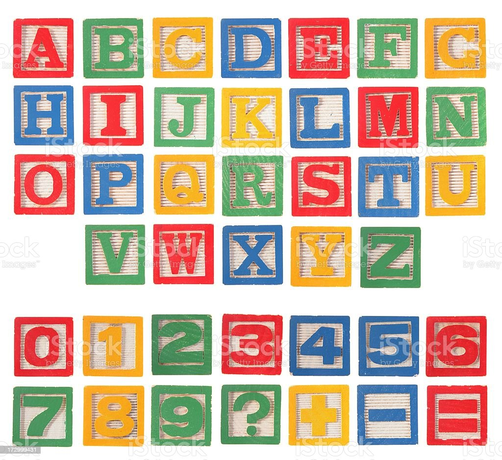 Alphabet Block Complete Set XXL with Numbers stock photo