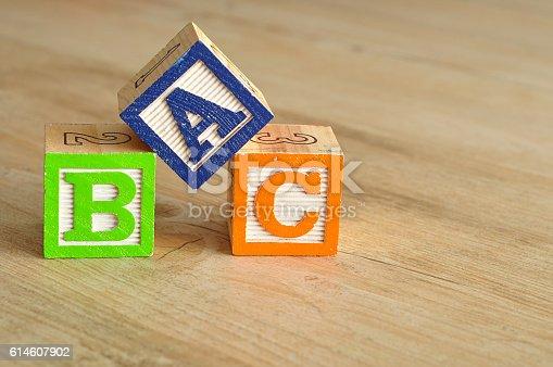 istock Alphabet blocks ABC 614607902