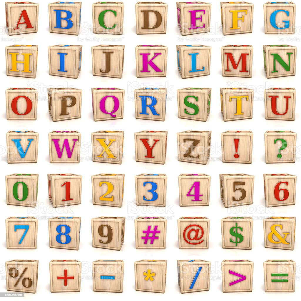 Alphabet blocks letters and numbers royalty-free stock photo