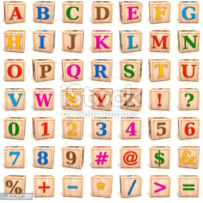istock Alphabet blocks letters and numbers 185065285