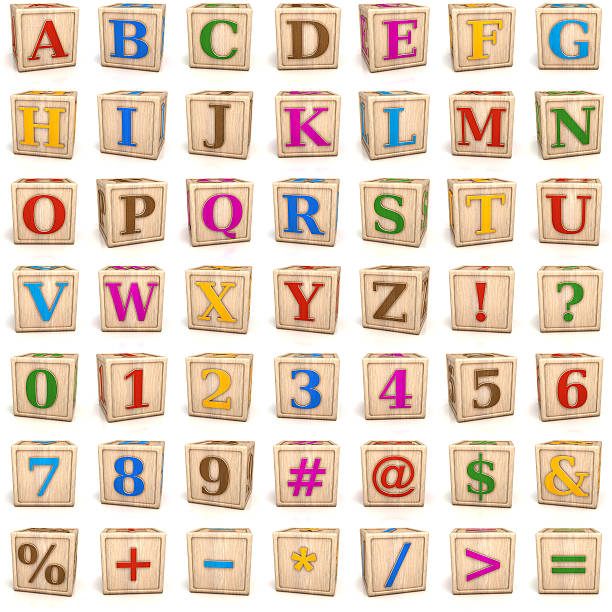 Alphabet blocks letters and numbers stock photo