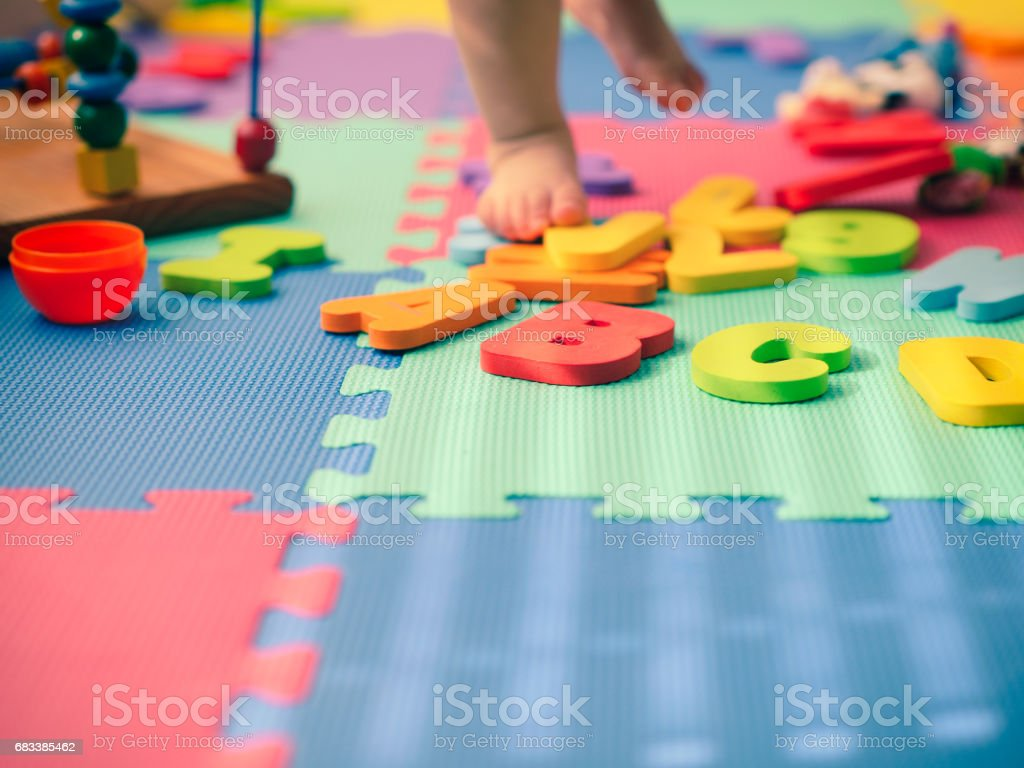 alphabet blocks on playground stock photo