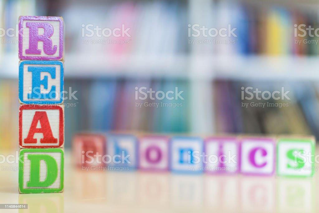 Closeup of kids alphabet wooden blocks arranged to spell \