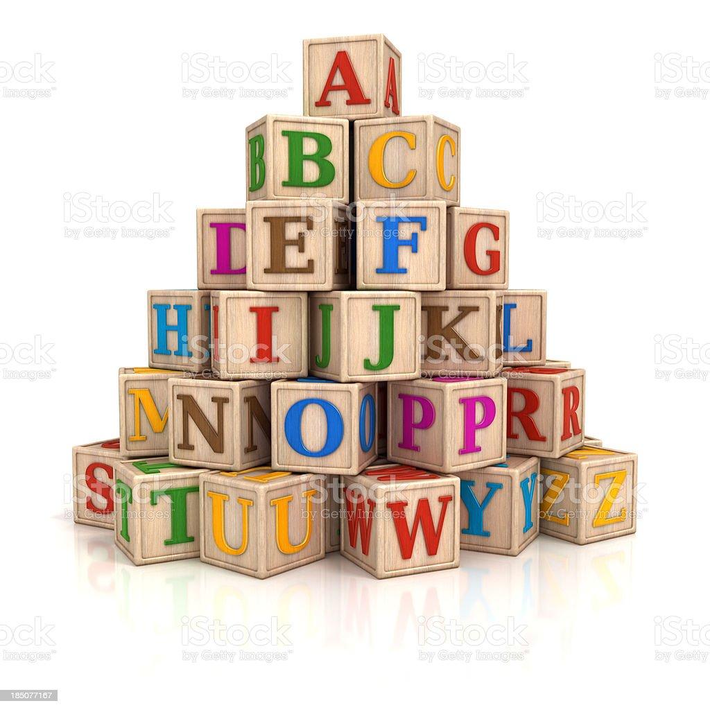 Alphabet blocks stack royalty-free stock photo