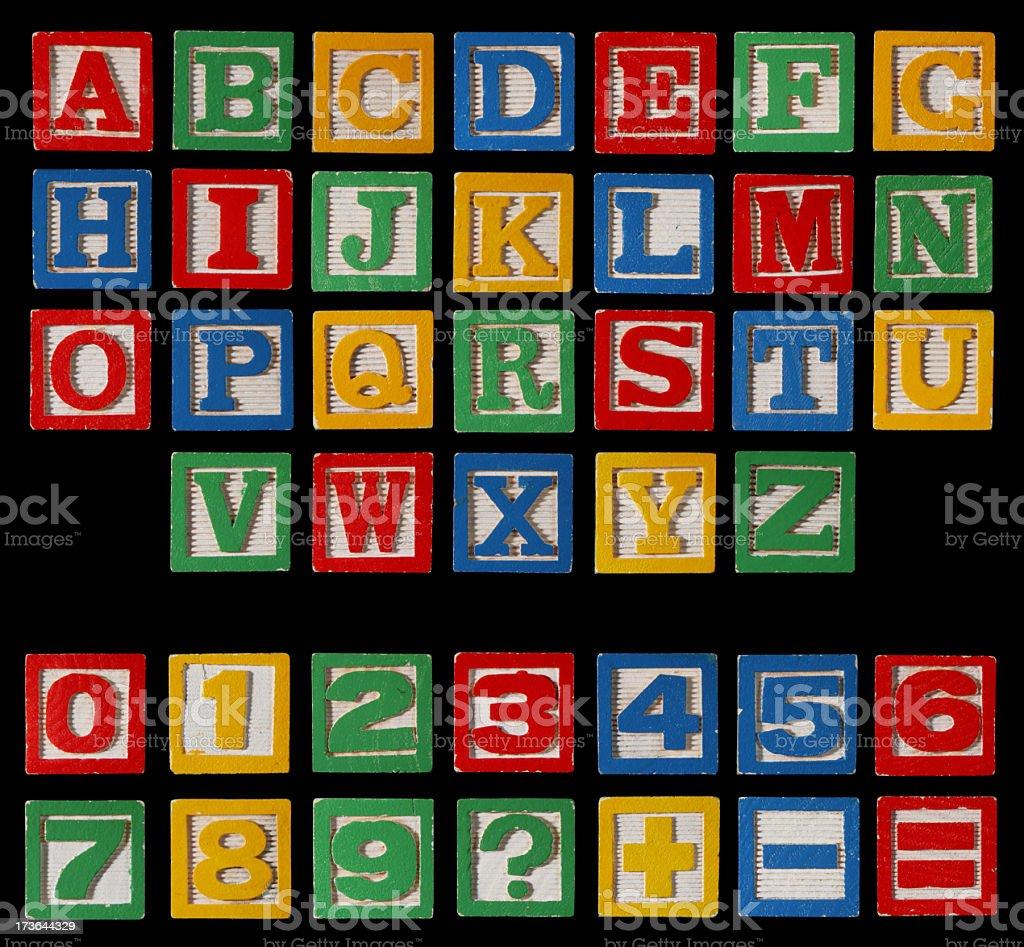 Alphabet Blocks XXXL on Black Complete Set  with Numbers stock photo