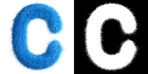 Alphabet C made from fur with alpha mask, fur font, 3d alphabet. 3d illustration.