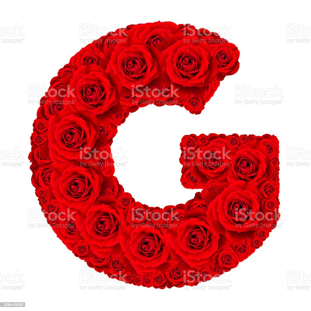 Alphabet Capital Letter G Made From Red Rose Stock Photo More