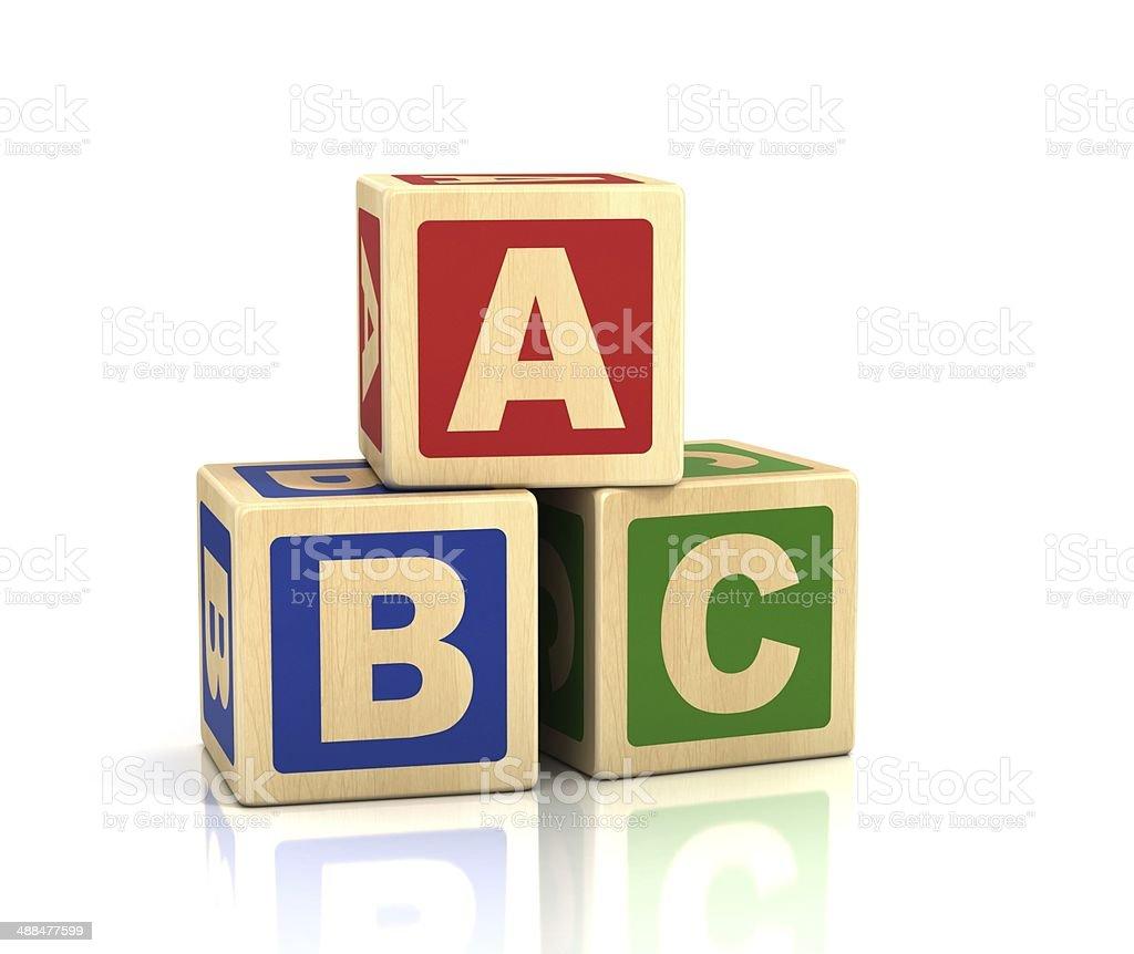 alphabet concept - ABC cubes on a white background stock photo