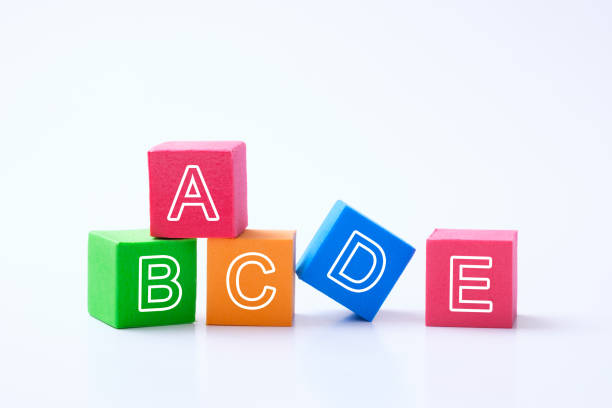abc alphabet cubes for early child education concept - alphabetical order stock pictures, royalty-free photos & images