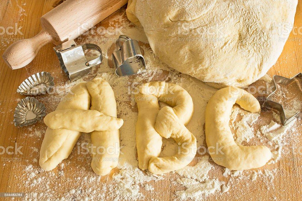 Alphabet Dough and Kneading stock photo