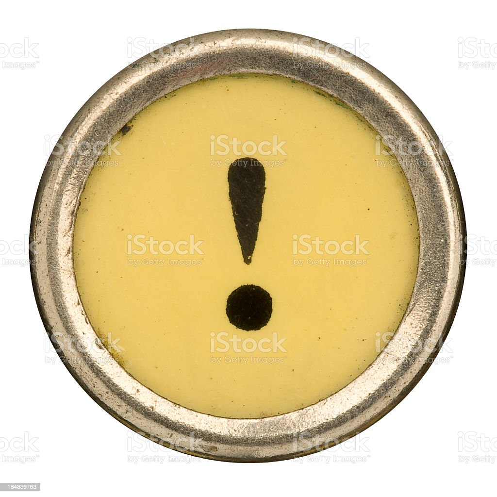 Alphabet - ! Exclamation Point Key from old Manual Typewriter. stock photo