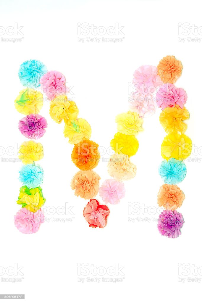 M Alphabet Flowers Made From Paper Craftwork Stock Photo More
