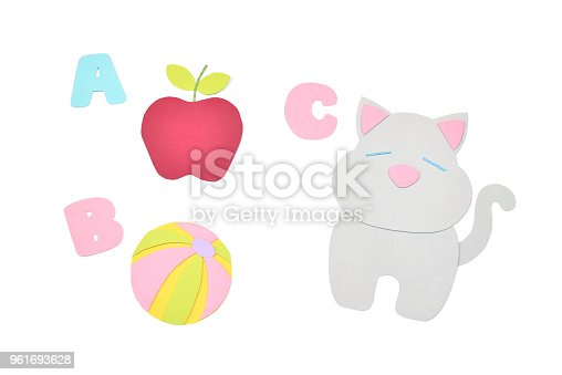 istock Alphabet for kids paper cut on white background 961693628