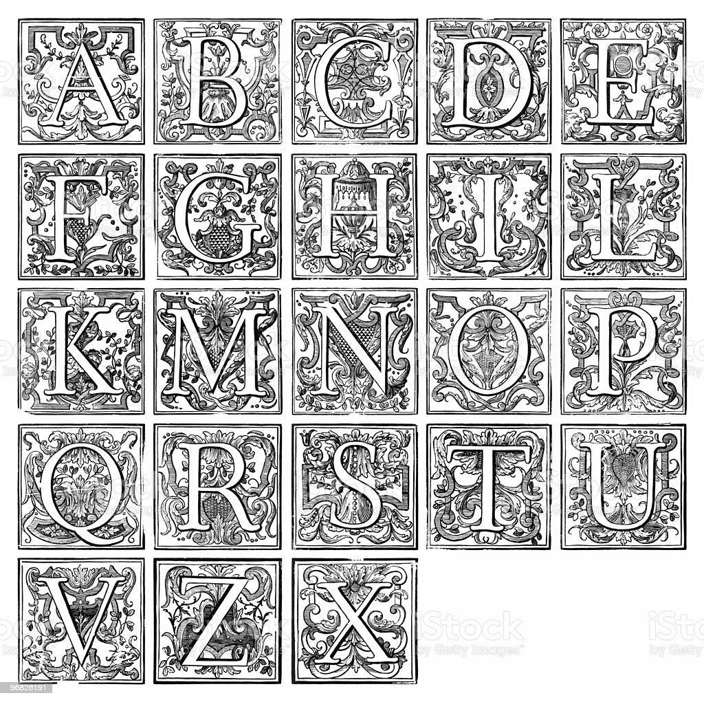 alphabet from 16th century royalty-free stock photo