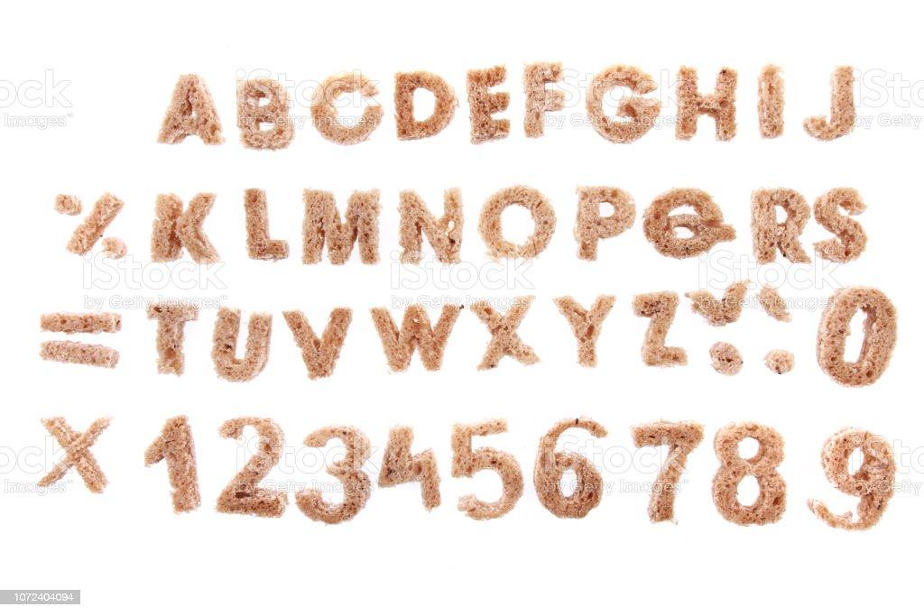 alphabet from bread stock photo