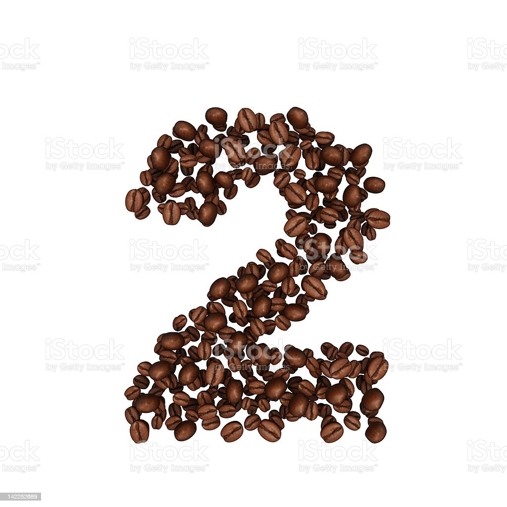 Alphabet from coffee beans. Number 2 royalty-free stock photo