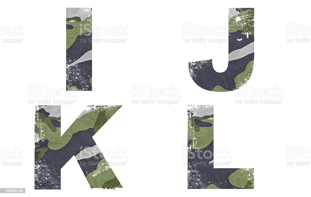 I, J, K, L alphabet from military fabric texture. royalty-free stock photo
