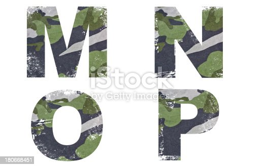 istock M, N, O, P alphabet from military fabric texture. 180668451