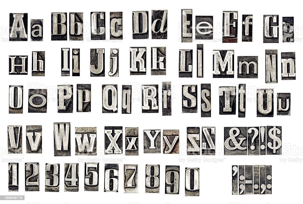alphabet from old metal letters stock photo