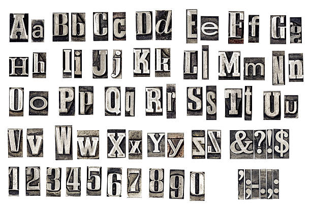 alphabet from old metal letters - letterpress stock photos and pictures