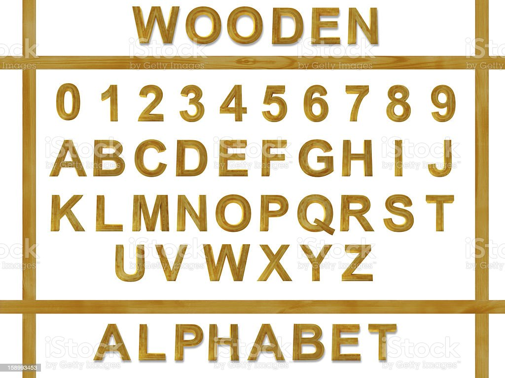 alphabet from wooden letters stock photo