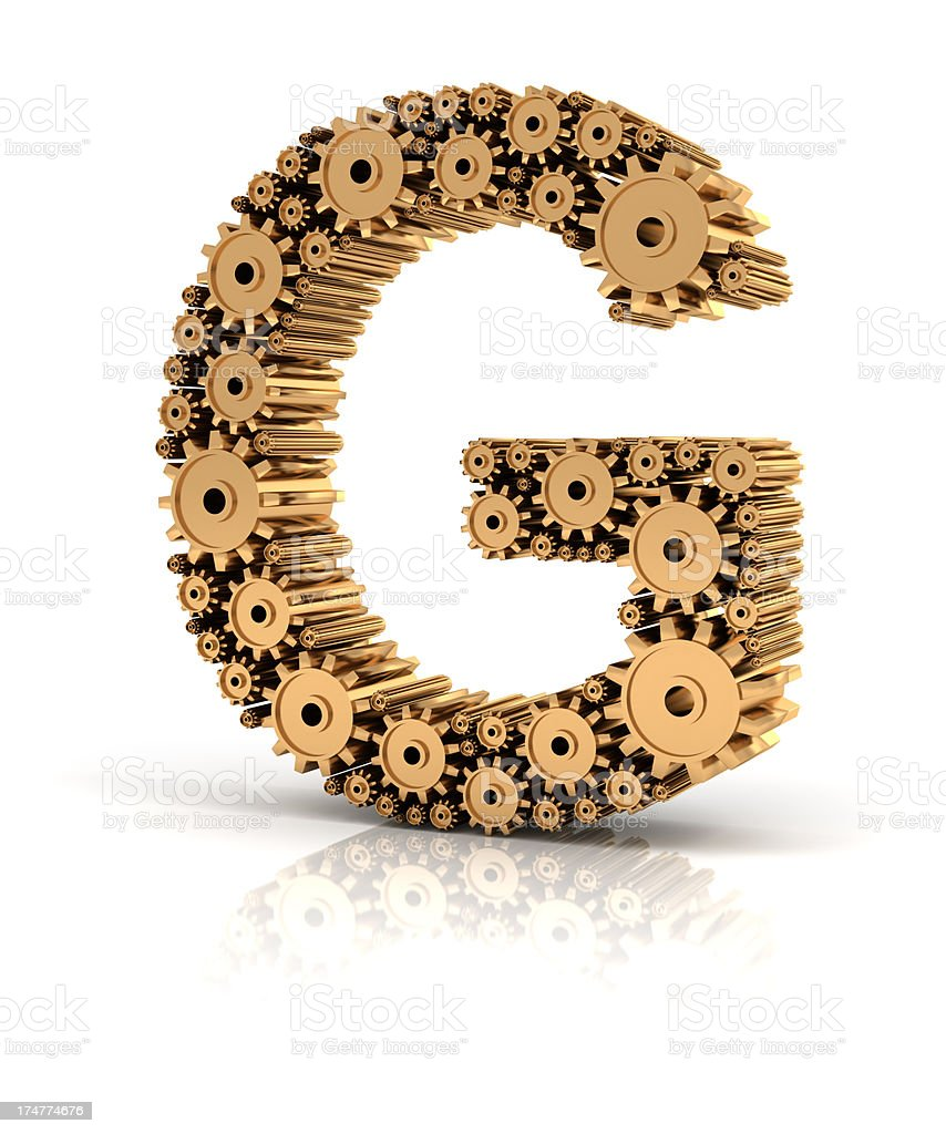 Alphabet G formed by gears stock photo