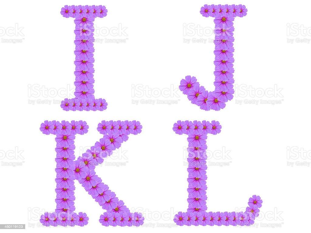 Alphabet I J K L, Cosmos flower isolated on white royalty-free stock photo