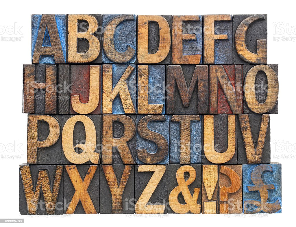 alphabet in antique wood type royalty-free stock photo