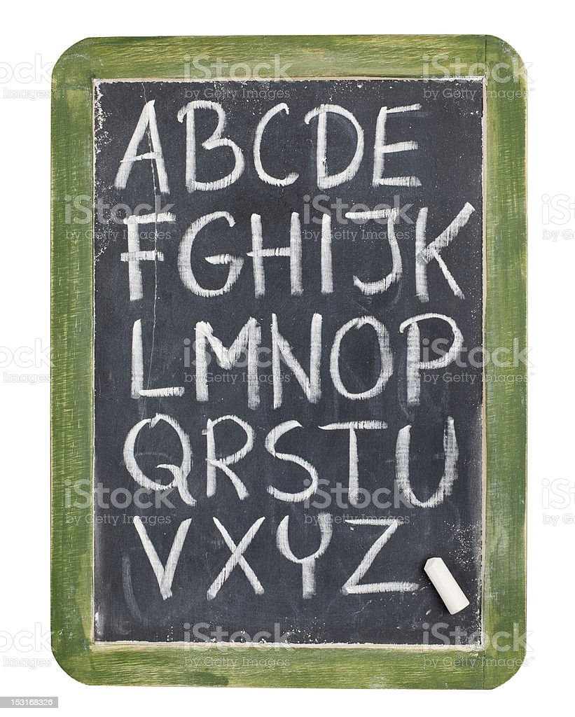 alphabet in chalk on blackboard royalty-free stock photo