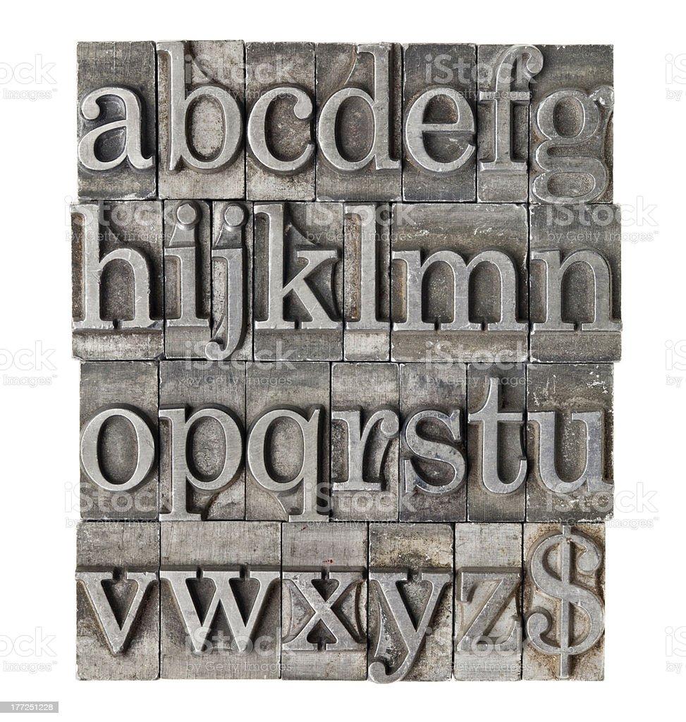 alphabet in grunge meta type stock photo