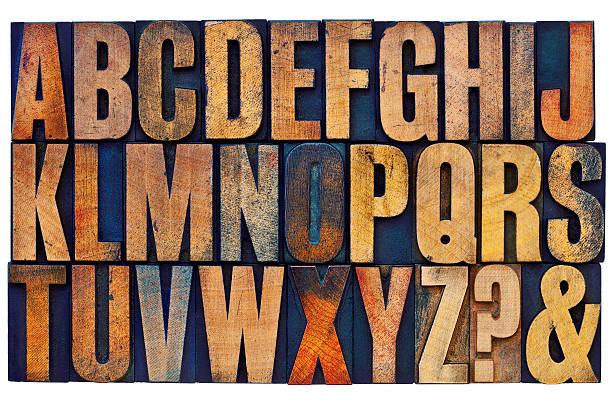 alphabet in letterpress wood type blocks stock photo