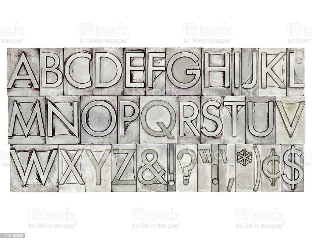 alphabet in metal type royalty-free stock photo